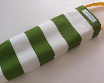 plastic bag holder/dispenser // grocery bag holder // wide stripe in grass green and white