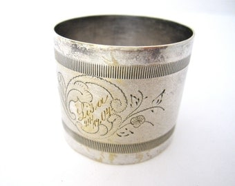 Antique Napkin Ring Engraved LISA 1904, Silverplate GAB Guldsmeds Aktiebolag, Scandinavian Silver