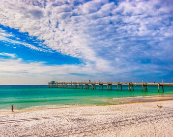 Travel, Landscape, Photography, Emerald Coast, Pier, Beach, White Sand, Destin, Florida, Fine Art, Home Decor, (Title: Island Beach Walk)