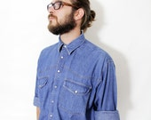 Vintage shirt / mens oversized denim shirt / size L