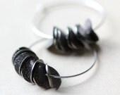Large Hoop Silver Earrings Sterling Silver Hoops Black Ruffled Stardust Petals Modern Hoop Earrings Boho Jewelry