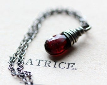 January Birthstone Necklace, Garnet Necklace on Sterling Silver Birthstone Jewelry Red Gemstone