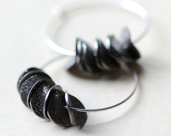 Large Hoop Silver Earrings Sterling Silver Hoops Black Ruffled Stardust Petals Modern Hoop Earrings Boho Jewelry