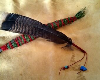 Single Turkey Feather Smudge Fan & Cedar Bundle