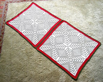 Doily Dresser Scarf Runner Lace Double Squares Red Green White Framed Stars Christmas Holiday