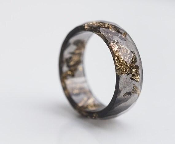 Black Resin Ring Men Ring Gold Flakes Big Size 10 Faceted