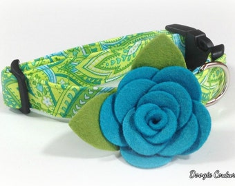 New Blue Rose Dog Collar Size XS through Large by Doogie Couture