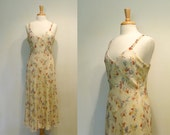 SALE Vintage 1990s Ivory Silk Chiffon Floral Bias Cut Midi Dress