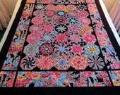 Kaleidoscope Lap Quilt, One Block Wonder Octagons, Bright Flowers on Black