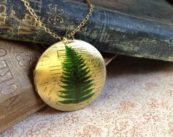 Botanical Locket Necklace - Floral Fern Jewelery - Elegant Unusual Vintage Illustration Jewellery