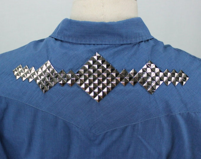 70s Studded Western Shirt / Vintage Western Shirt / Rock and Roll Shirt / Punk Shirt / Hand Studded Shirt / Country Western Shirt
