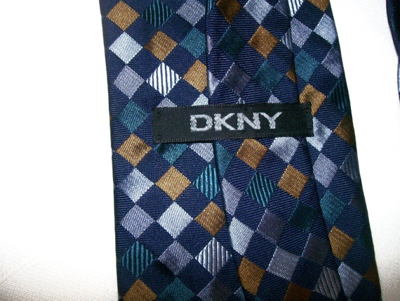 DKNY  Silk  Tie copper teal navy gray slate blue FAB condition