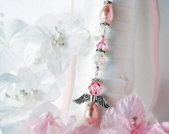 Pink Wedding Bouquet Charm Swarovski Crystal and Pearl Angel Bridal Bouquet Charm