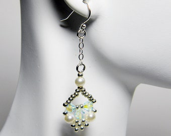 """Swarovski Crystal and Pearl Lace Beadweaving Earrings Silver Beads Sterling Silver - """"Edwardian Lace"""""""
