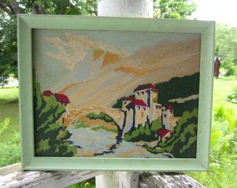 Vintage Mediterranean Landscape Framed Paint by Number Colorful Kitsch Wall Hanging