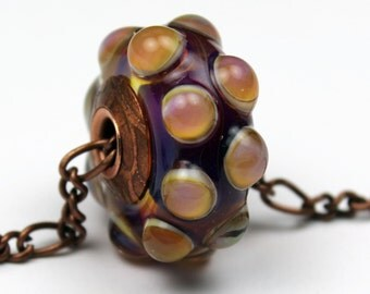 Lampwork Glass Beads, BHB  European Big Hole Charm Bead Antique Copper Core