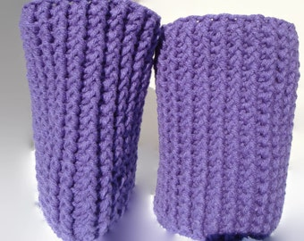 Boot Cuffs, Leg Warmers, Thigh High Socks, Crochet Lavender Boot Socks, Boot Toppers,