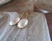 Glamorous Vintage White Opal AB Gem Earrings