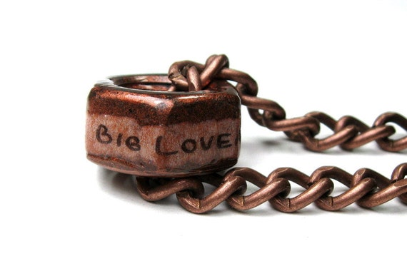 One Big Loveable Nut, Hex Nut Necklace, Antiqued Copper, Metal Jewelry, Mens Accessories, Gifts for Men, Love, Humorous, Funny, Manly, Him