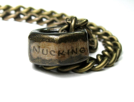 Nucking Futs, Industrial Chic Hex Nut Necklace, Mature, Metal Jewelry, Mens Jewelry, Mens Accessories, Antique Brass, Humorous, Adult, Funny