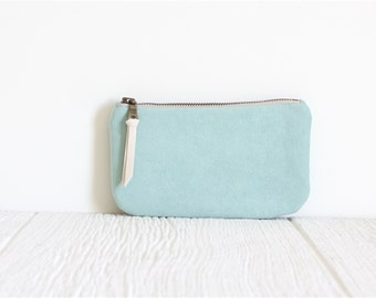 Vegan Suede Clutch, Mint Clutch, Bridesmaid Gift, Ecofriendly Purse