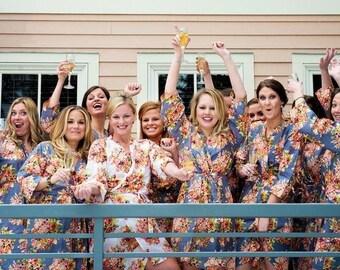Gray Bridesmaids Robes Sets Kimono Crossover Robe Perfect bridesmaids gift, getting ready robes, Bridal shower favors, Wedding photo prop