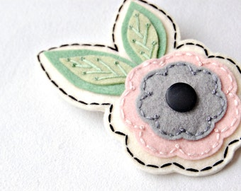 Embroidered Floral Hair Clip