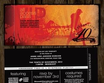 VIP Ticket Rock Star Birthday Invitation // ROCK N ROLL