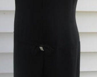 Vintage 1960s Mod Black TRAPEZE Party Dress M L 6 8 10