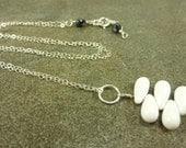 White Teardrop Petal Necklace Sterling Silver LUXE LINE