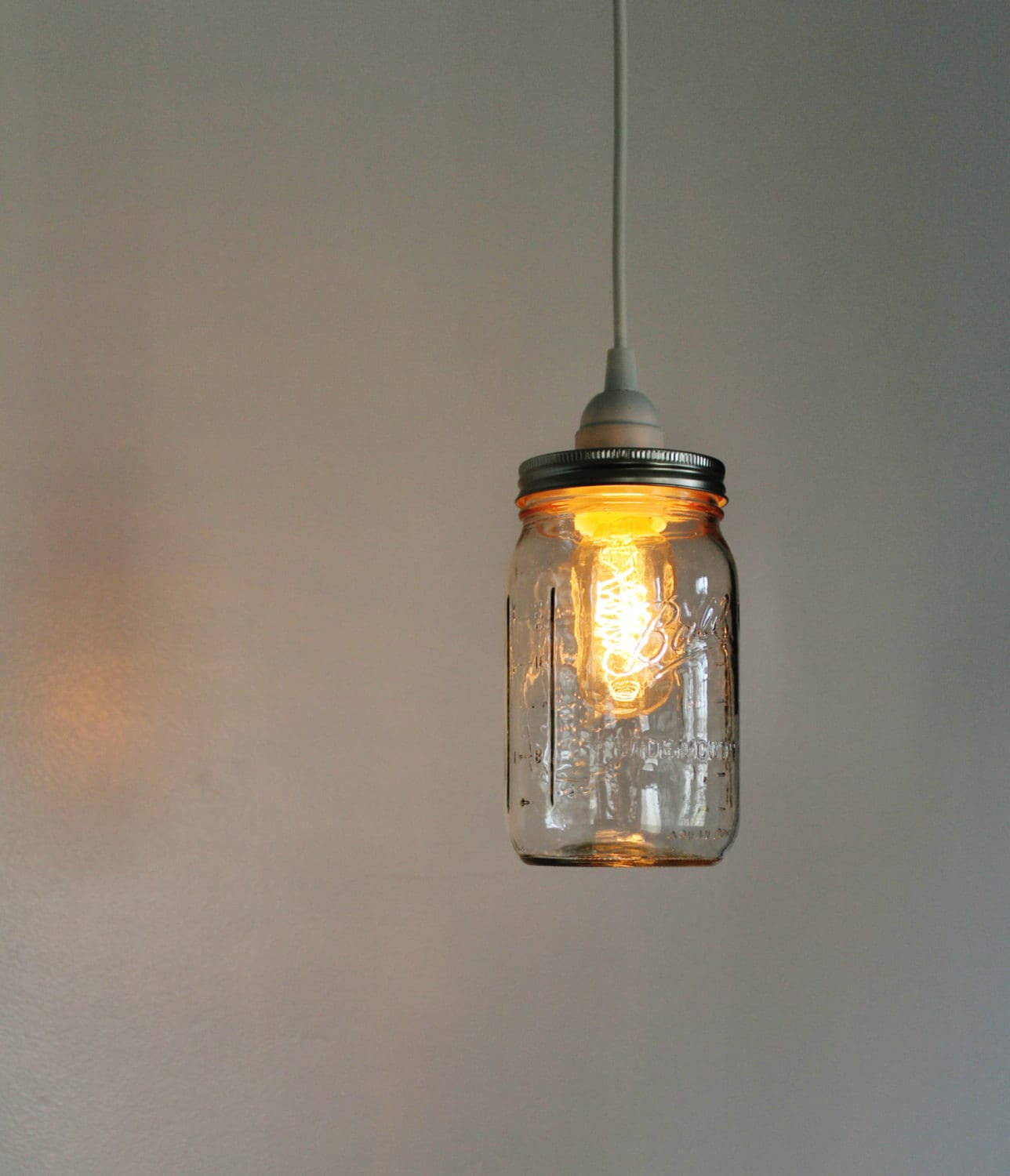 mason jar pendant lamp upcycled hanging lighting fixture. Black Bedroom Furniture Sets. Home Design Ideas