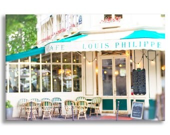 Paris Cafe Photo Canvas, Cafe Louis Philippe, Fine Art Photograph on Gallery Wrapped Canvas, Large Wall Art, French Home Decor
