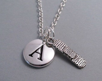 Band-Aid Charm Necklace, Keychain, Silver Plated Charm, Initial Engraved Charm, Monogram