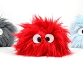 Fuzzy Pet Rock in Red  -  Handmade Plush Created with Upcycled, Recycled, and Eco Friendly Materials