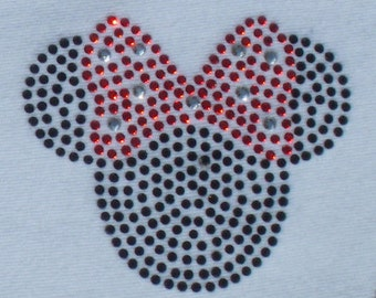 2.5 inch red/black Minnie Mouse iron on rhinestone Tiny transfer for Disney t shirt or costume