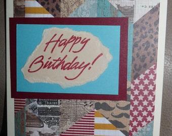 Happy Birthday - Handmade Card - Masculine - Mustache & Chevron Print - FREE Shipping