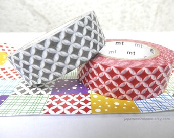 Pack of 2 - Red Grey Washi Masking Tape Japanese MT Deco SPRING 2012 design 15mm x 10m ( 2 roll set )