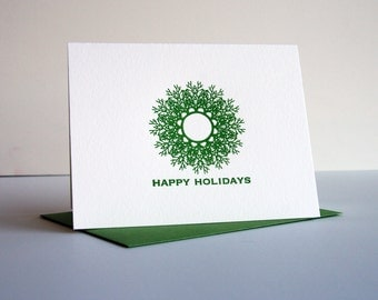 Letterpress Holiday Card Letterpress Christmas Card - Green Wreath