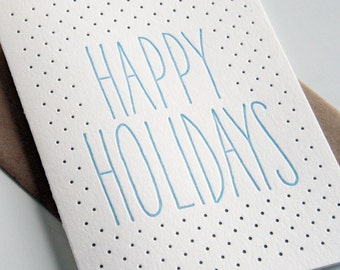 Letterpress Holiday Card Letterpress Christmas Cards - Holiday Dots