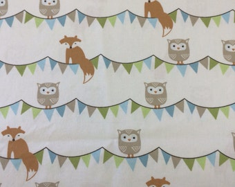 Custom Crib Sheet -Foxes and Owl Banners- Cotton