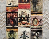 Set of 9 Steampunk ATC's- Large Set of Fascinating Designs on Cardstock- Steampunk Heart, steampunk gentleman, Art Trading Card Collection