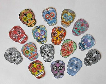 6 SIZES of Sugar Skull Paper STICKERS- 16 RTU with Adhesive back- Sugar Skull art Dia de los Muertos skull Jewelry Day of Dead art Prints