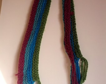 80s knit scarf purple green hippie eighties boho muffler