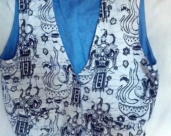beaded batik print vest hippie psychedelic tribal design bead embroidered Large