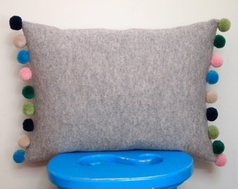 Pom Pom Cushion Made With 100% Soft Lambswool