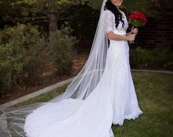 Single layer Cathedral Satin ribbon edge wedding veil white, diamond or ivory