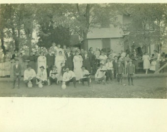 Wedding Day Bride Groom Large Party Men Holding Food Group Picture RPPC Real Photo Postcard Vintage Antique Black White Photo Photograph