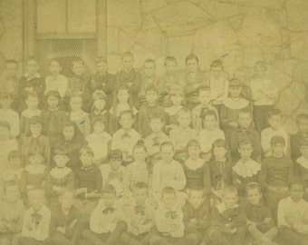 Antique 1800s School Children Class Photo Arms Crossed Boys Girls Outside Vintage  Photo Black White Photograph