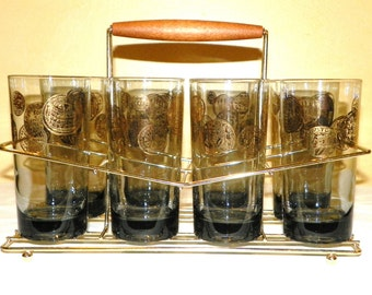Vintage Set of 8 Gold Coin Glasses in Metal Rack ~ The Perfect Bar Set