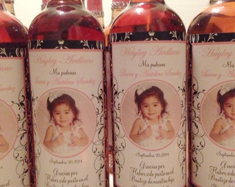 Baptism Wine Labels - Damask - Photo Wine Labels for Baptisms - Christenings - First Communion - English or Spanish - 8 Labels